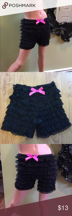 Gothic black pantaloons ruffle shorts goth so cute Gothic black ruffle pantaloons marked one size fits most and stretchy super cute - new without tags Hot Topic Intimates & Sleepwear Panties