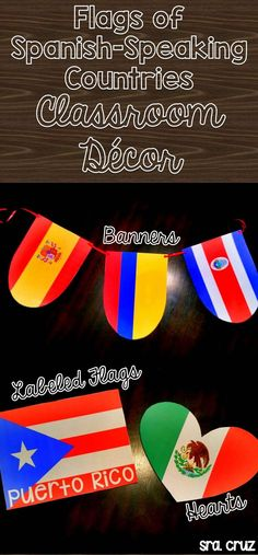 Flags of Spanish-Speaking Countries Classroom Decor Includes 4 different PowerPoints with decorations using the flags of the Spanish-speaking countries. 1) Flags 2) Flags labeled with the country name 3) Flag Banners 4) Flags Hearts https://www.teacher