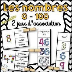 Nombres 0 - 100 - 2 jeux d'association/Ensemble (Numbers) Fractions, The 100, Bullet Journal, Voici, Kids, Products, Names, Infants, Math Centers