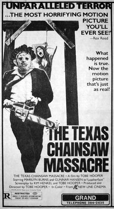 2016 Day 28 : The Texas Chainsaw Massacre (1974)  Its not a poster but I thought this newspaper clipping from back in the day was cool.
