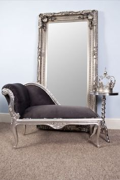VintageVibe French Style Grey Suede Silver Leaf Style Small Chaise Longue ,  Http://