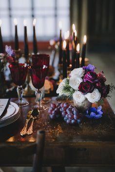 Halloween wedding with Noir inspiration wedding altar A Noir Inspired Halloween Wedding Editorial ⋆ Ruffled Geek Wedding, Wedding Art, Wedding Table, Fall Wedding, Rustic Wedding, Dream Wedding, Wedding Black, Wedding Stuff, Wedding Ideas