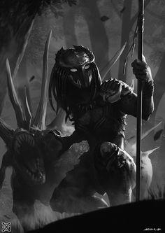 Female Predator Concept Art 4 by MistXG Predator Movie, Alien Vs Predator, Apex Predator, Alien Creatures, Fantasy Creatures, Female Yautja, Predator Cosplay, Alien Races, Alien Art