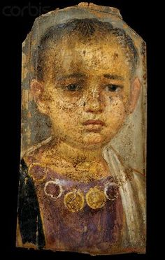 Fayoum portrait of a rather sad looking little boy, wearing a necklace. Mummy portraits or Fayum mummy portraits (also Faiyum mummy portraits) is the modern term given to a type of naturalistic painted portraits on wooden boards attached to mummies from the Coptic period. They belong to the tradition of panel painting, one of the most highly regarded forms of art in the Classical world.