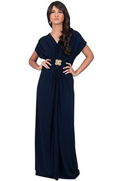 0218b33df4b KOH KOH Womens Long V-neck Short Sleeve Ruched Waist Long Gown Maxi Dress  Maxi Dress at Amazon Women s Clothing store
