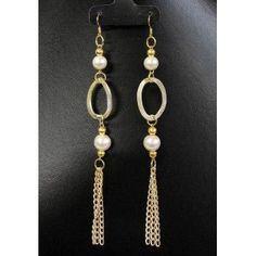 Aretes de Moda con Perlas y Cadena de Aluminio