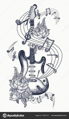 Electric guitar, roses and music notes. Rock and roll t-shirt des… Guitar tattoo. Electric guitar, roses and music notes. Rock and roll t-shirt design. Symbol of rock music, musical festivals. Guitar Tattoo Design, Music Tattoo Designs, Music Tattoos, Rock And Roll Tattoo, Tatouage Rock And Roll, Rock Roll, Music Drawings, Music Artwork, Tattoo Drawings