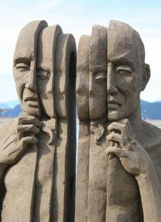 Carl Jara makes sands sculpture, mind-blowing sculptures, land art. Art Plage, Instalation Art, Ice Art, Snow Sculptures, Snow Art, Land Art, Beach Art, Oeuvre D'art, Amazing Art