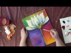 How to Paint: Mixed Media Painting - Abstract Lotus Flower - YouTube