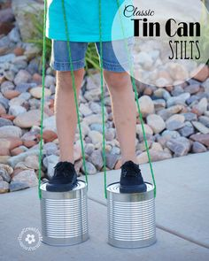 Kids are sure to love Tin Can Stilts! Bust boredom with a classic toy made from recycled materials. Frugal tin can stilts are sure to please.