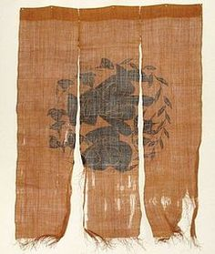 etclalala:    This is a noren ( curtain ) made of shina-fu which is the bast fiber taken from the bark of the shina tree. The shina tree grows widely in Japan and shina-fu had been woven since ancient time, however it is woven only in Yamagata or Niigata prefecture these days. This noren has katazome ( stencil-resist-dyeing ) design. It has wear in the lower parts and some holes. 20th century. 108cm x 144cm