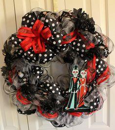 Halloween Day of the Dead Deco Mesh Wreath. Large Halloween Decoration. Dia De Los Muertos. Halloween decoration. Skeleton, Katrina on Etsy, $46.00