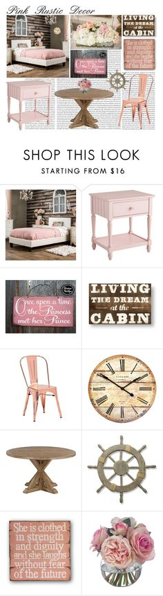 """""""Pink Rustic Decor"""" by luvzjesus ❤ liked on Polyvore featuring interior, interiors, interior design, home, home decor, interior decorating, Oris, Furniture of America, Pier 1 Imports and Zuo"""