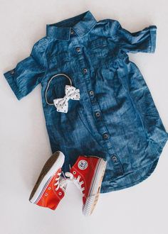 Cute girl high tops // denim dress outfit / fall toddler outfit / PF Flyers baby girl Two MUST HAVE Toddler Outfits Fashion Kids, Little Kid Fashion, Little Girl Outfits, Baby Girl Fashion, Fashion Clothes, Fashion Wear, Fashion Dresses, Ladies Fashion, Fashion Dolls