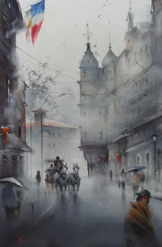 Ilya Ibryaev - AFTER THE RAIN - (Karlovy Vary, Czech Republic) - watercolor (53х37) cm