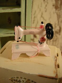 Light pink dollhouse sewing machine