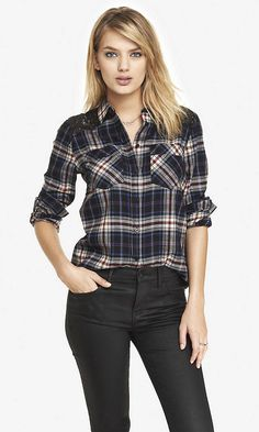 Cute fall plaid shirt with some sequins!