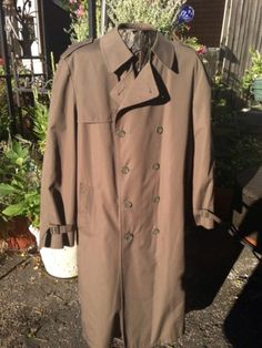Brand New London Fog Coat Brown Mens Sz 42L Removable Liner LUXE FAB!!!!