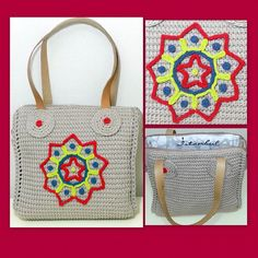 Handmade earth tone crochet bag