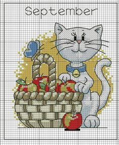 cat with apple basket Cross Stitch Owl, Cat Cross Stitches, Cross Stitch Animals, Cross Stitch Charts, Cross Stitch Designs, Cross Stitching, Cross Stitch Embroidery, Embroidery Patterns, Cross Stitch Patterns
