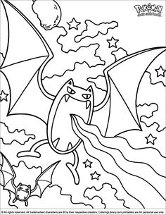 Pokemon coloring page, a weird looking bat thing.