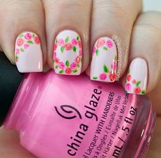 Valentine roses nail art by paulina's passions flower nails rose nail art Rose Nail Design, Rose Nail Art, Nail Design Video, Floral Nail Art, Rose Nails, Flower Nails, Tulip Nails, Heart Nails, Nails Design