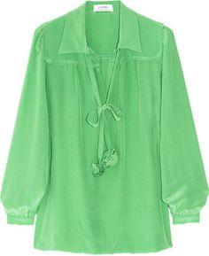 7d13b20c ShopStyle: Sonia by Sonia Rykiel Pompom-detailed silk crepe de chine blouse  Green Shirt
