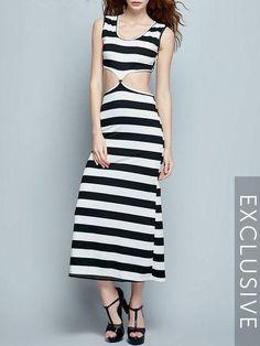 #BFCM #CyberMonday #Fashionmia - #Fashionmia Color Block Striped Fantastic Black And White Maxi-dress - AdoreWe.com