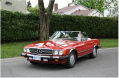 """Vintage Convertible Mercedes in Red! Licence plate should read """"DJSELLS"""""""
