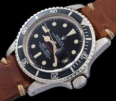"""Extremely rare Rolex Submariner ref 1680 made for Peruvian Air Force. Screw back engraved """" Fuerza Aerea del Perù """" and serial number repeated to the inside. Exceedingly small numbers of ref 1680 where ordered by Special Forces. The present watch was sold by Christie's on 11th of may 2015.   Manufactured in 1974, case n. 3,728,904"""