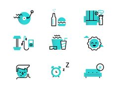 "Dmitri Litvinov / Icon set for Quoterobot – ""Ten Steps to Escape Your Digital Hub"" love this style Icon Design, Graphisches Design, Flat Design Icons, Logo Design, Flat Icons, Icon Set, Branding, Illustrator Tutorial, Doodle Icon"