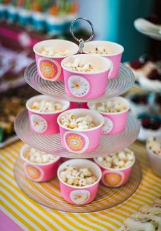 Sunshine birthday party popcorn cups!  See more party planning ideas at CatchMyParty.com!