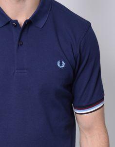 Fred Perry - Bradley Wiggins Striped Cuff Polo Shirt Carbon Blue