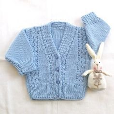 Baby knit cardigan Baby blue sweater Baby by LurayKnitwear