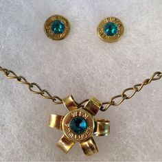 Bullet Ammo Jewelry with blue zircon stones- LOVE the necklace!