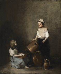 Les petites récureuses (The little scrubbers) by Théodule Augustin Ribot (French, 1823 - 1891)