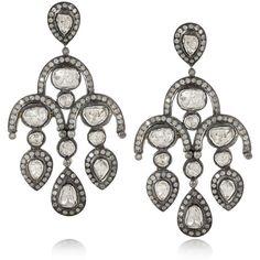 Artisan 14-karat gold, sterling silver and diamond chandelier earrings