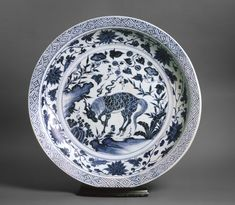 Blue-and-white dish with a kylin, or horned creature, Yuan Dynasty (1279 - 1368), 2nd half of the 14th century