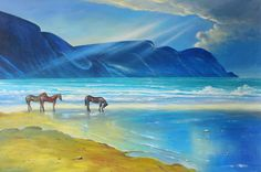 Minaun Cliffs Achill County Mayo Painting by Conor McGuire