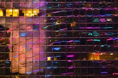 Eric Meola / America / Neon Reflections in Office Building