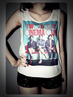 Two Door Cinema Club Shirt Tank Top T-Shirt Crop Top Sexy SideBoob Shirts Women Size S, M, L