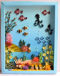 Shivani Creations: Sea World Paper Quilling Flowers, Paper Quilling Cards, Paper Quilling Jewelry, Paper Quilling Patterns, Quilled Paper Art, Quilling Paper Craft, Paper Crafts, Neli Quilling, Paper Quilling For Beginners