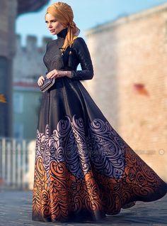Golden Fall Elbise - Kiremit - Muslima Wear