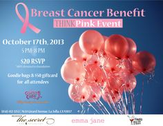 October is the month of Breast Cancer Awareness. October 17th at 5-8PM come out and show your support for a great cause! #thesecretclinic #lajolla #emmajane #finchswinebarbistro