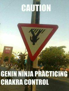 Caution: Genin ninja practicing Chakra control
