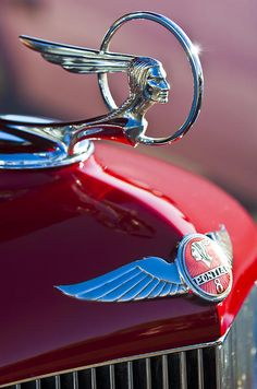 Vintage Cars Classic 1933 Pontiac Chief Hood Ornament - High quality Hood Ornaments Vintage inspired T-Shirts, Posters, Mugs and more by independent artis. Retro Cars, Vintage Cars, Antique Cars, Antique Trucks, Car Badges, Car Logos, Buick, Classic Trucks, Classic Cars