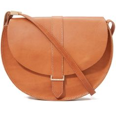 Clare V. Luce Saddle Bag ($290) ❤ liked on Polyvore featuring bags, handbags, shoulder bags, cuoio, leather flap handbag, genuine leather purse, saddle bags, red shoulder bag and leather purse