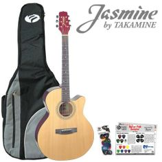 Jasmine by Takamine S34C Acoustic Guitar Start-Up Pack with Guitar Strap, Picks and Gig-bag by Takamine. $109.98. The NEX guitar body is a scaled-down Jumbo at heart. It has a silky balance to the tone that supports vocals beautifully. Jasmine guitars are designed by the same craftsmen who make the world's hottest-selling all wood acoustic guitar…taka mine. This each model features all-wood construction, Natural satin finish, ping machines, durability, and quality, -I...