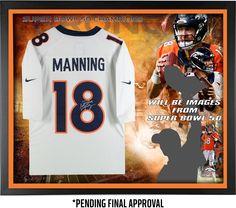 Peyton Manning Denver Broncos Framed Autographed Nike White Limited Jersey Super Bowl 50 Champions Collage