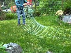 Bending cattle panel to make an arch for vertical trellis.